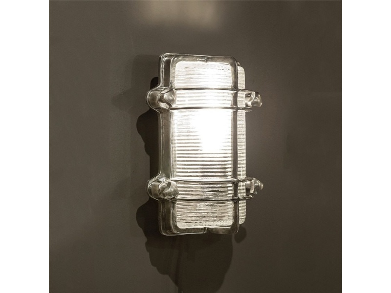 Harley Metal & Glass Bunker Wall Light, Antique Silver