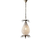 LivingStyles Picaso Cut Glass and Metal Pineapple Pendant Light, Small