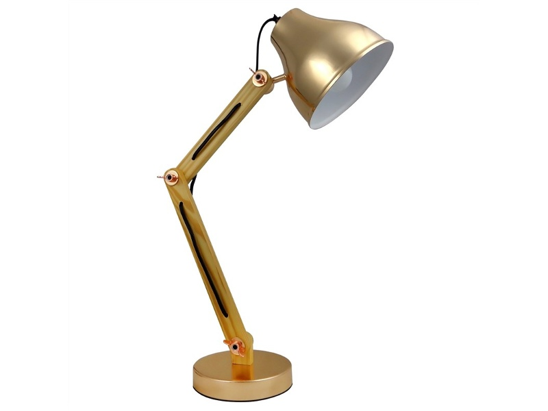 Wattle Wooden Arm Table Lamp, French Gold