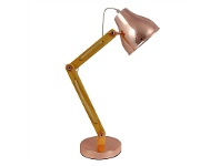 LivingStyles Wattle Wooden Arm Table Lamp, Rose Gold