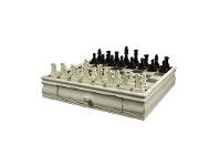 LivingStyles Wooden Chess Set Cream