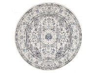 LivingStyles Evoke Mist Turkish Made Oriental Round Rug, 240cm, White