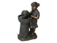 LivingStyles Girl with Bird Bath Fountain
