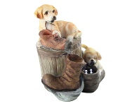 LivingStyles Twin Puppies Fountain - 25cm