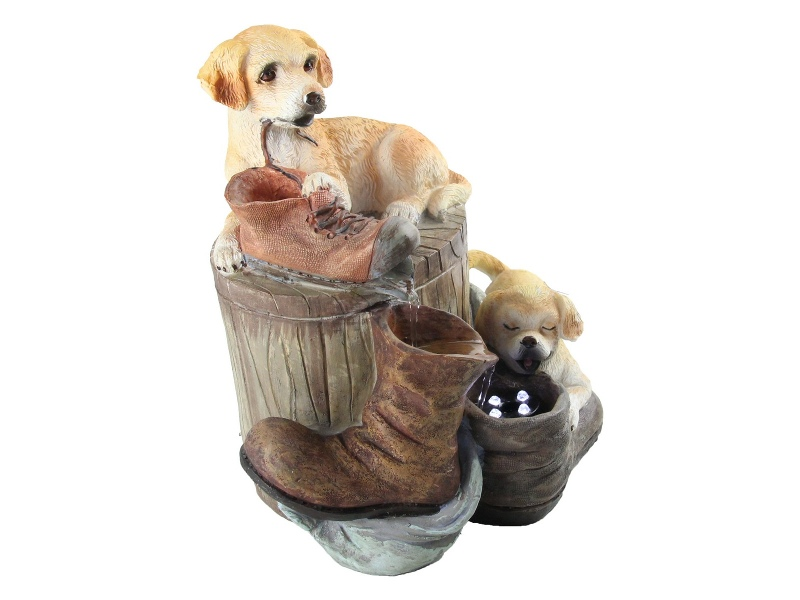 Twin Puppies Fountain - 25cm