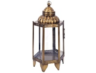 LivingStyles Holly Metal and Glass Moroccan Lantern
