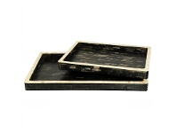 LivingStyles Kadida 2 Piece Bone Inlay Tray Set