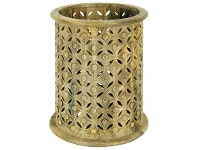 LivingStyles Luxor African Carved Wooden Hurricane Candle Holder - Natural