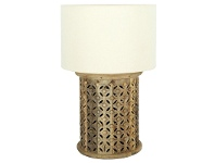 LivingStyles Luxor Carved Timber Base Table Lamp, Natural