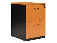 LivingStyles Logan 2 Drawer File Cabinet, Beech / Black