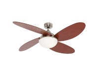"LivingStyles Rosebery Timber Ceiling Fan with Light, 132cm/52"", Brushed Chrome"