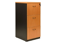 LivingStyles Logan 3 Drawer File Cabinet, Beech / Black