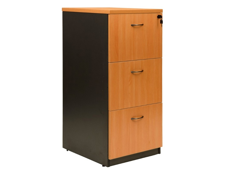 Logan 3 Drawer File Cabinet, Beech / Black