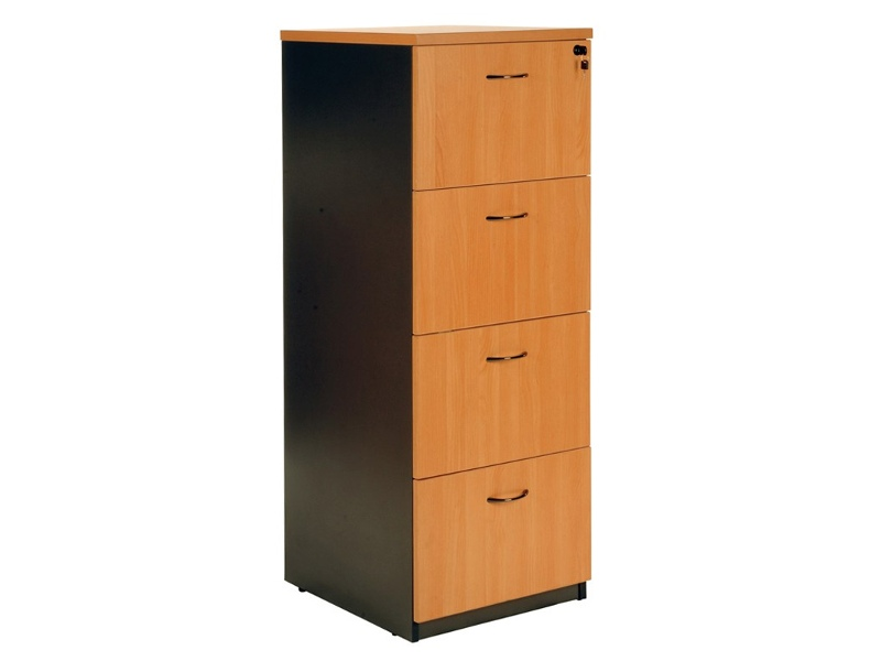 Logan 4 Drawer File Cabinet, Beech / Black