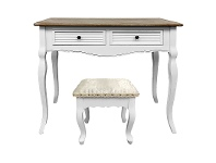 LivingStyles Vaujours 2 Tone Dressing Table with Ecoles Dressing Stool