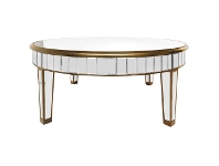 LivingStyles Poem Mirrored Round Coffee Table, 100cm