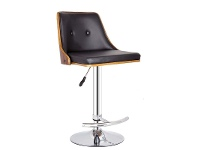 LivingStyles Florence PU Leather & Timber Gas Lift Bar Chair, Black