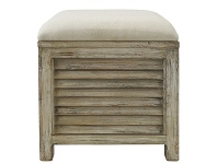 LivingStyles Noyes Slatted Timber Storage Stool with Linen Seat