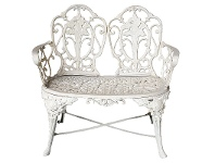 LivingStyles Kimberley Cast Iron 2 Seater Garden Bench - Antique White