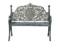 LivingStyles Nouveau Cast Iron 2 Seater Garden Bench, Army Green