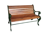 LivingStyles Morris Park Cast Iron Timber Slat 2 Seater Garden Bench