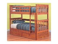 LivingStyles Forte Solid Pine Timber Single Bunk Bed without Trundle - Teak Stain