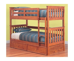 Forte Solid Pine Timber Single Bunk Bed without Trundle - Teak Stain