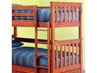 LivingStyles Forte Solid Pine Timber Single Bunk Bed with Trundle - Teak Stain