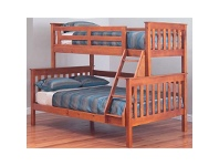 LivingStyles Forte Solid Pine Timber Trio Bunk Bed - Teak Stain
