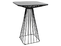 Dry Steel Cage Frame Square Bar Table with Glass Top, 75cm, Black