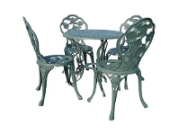 LivingStyles Rose Garden 5 Piece Cast Iron Outdoor Table Set - Verdigris