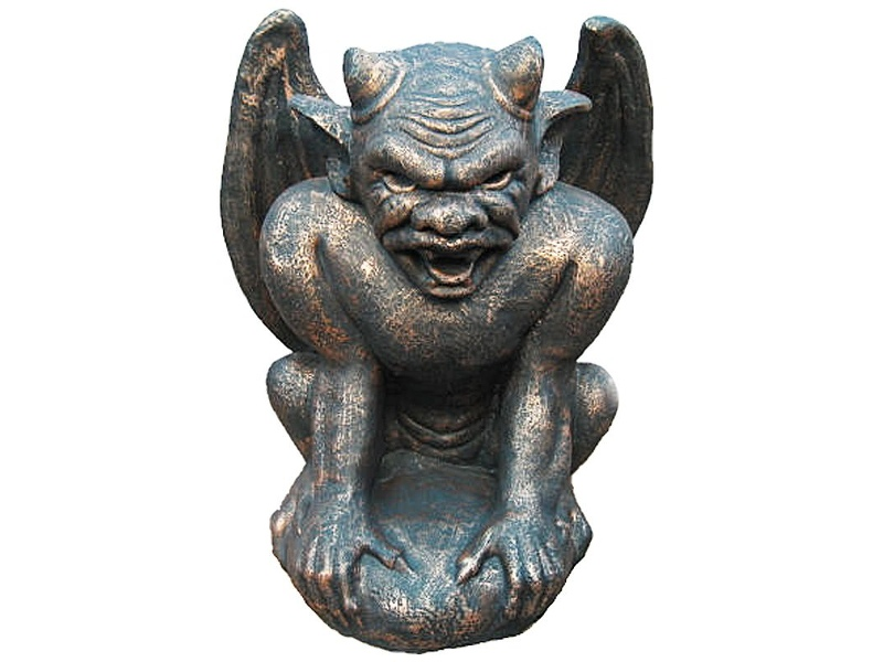Monster Face Gargoyle Cast Iron Statue