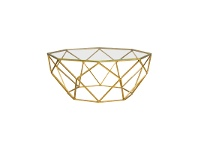 LivingStyles Russell Glass Top Metal Coffee Table, 94cm, Gold