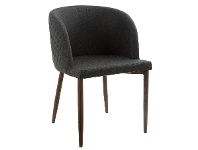 LivingStyles Gigi Quilted Fabric Bucket Dining Chair, Basalt