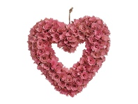 LivingStyles Artificial Rose Heart Wreath, Pink