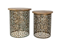 LivingStyles Rashmi 2 Piece Cutout Iron Side Table Set with Timber Top, Bronze