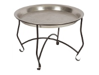 LivingStyles Freja Embossed Removable Tray Top Aluminium 74cm Round Coffee Table