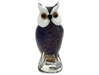 Hand Made Glass Art Figurine - Mysteriours Night Owl
