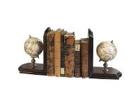 LivingStyles Wooden Base Celestial and Terrestrial Globe Bookends