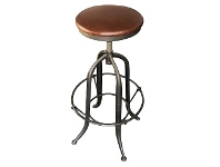 LivingStyles Francis Industrial Iron Adjustable Bar Stool with Leather Seat