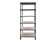 LivingStyles Montreal Industrial Fir Timber and Iron 5 Shelf Display Unit
