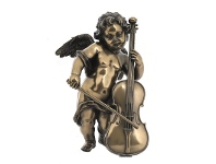 LivingStyles Veronese Cold Cast Bronze Coated Cherub Figurine, Playing Cello