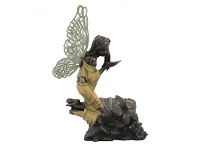 LivingStyles Veronese Cold Cast Bronze Coated Little Fairy Figurine, Whispering