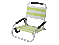 LivingStyles Satin Aluminium and Fabric Beach Chair - Lime Green and White