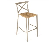 LivingStyles Monans Aluminium Indoor/Outdoor Bar Stool with Rattan Seat, Taupe
