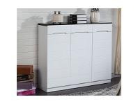 LivingStyles 3-Door and 3-Drawer Black and White Shoe Cabinet - 120x101x31.5cm
