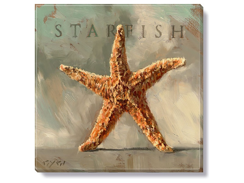 Bayport Stretched Canvas Wall Art Print, Starfish, Small