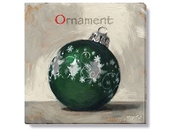 LivingStyles Bayport Stretched Canvas Wall Art Print, Green Christmas Ball, Small