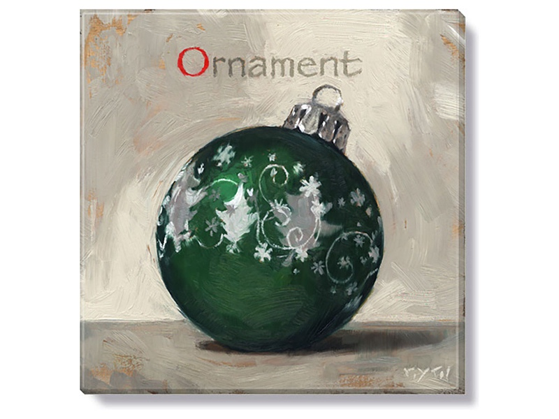 Bayport Stretched Canvas Wall Art Print, Green Christmas Ball, Small