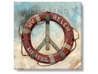 LivingStyles Bayport Stretched Canvas Wall Art Print, Life Ring, Small